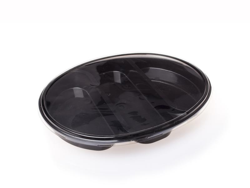 3 section black plastic tray – 750g-1500g
