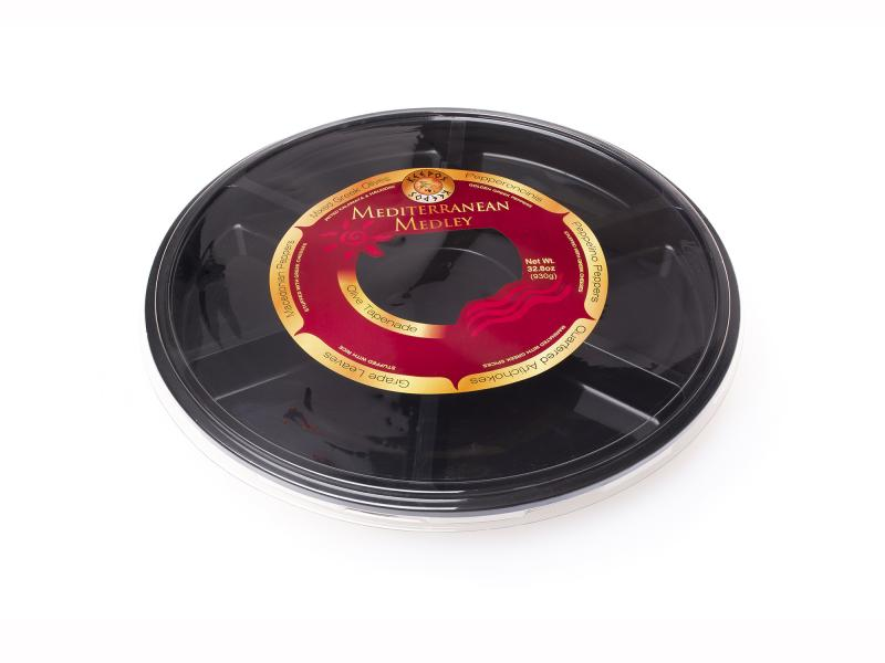 7 section black plastic tray – 930g-1700g