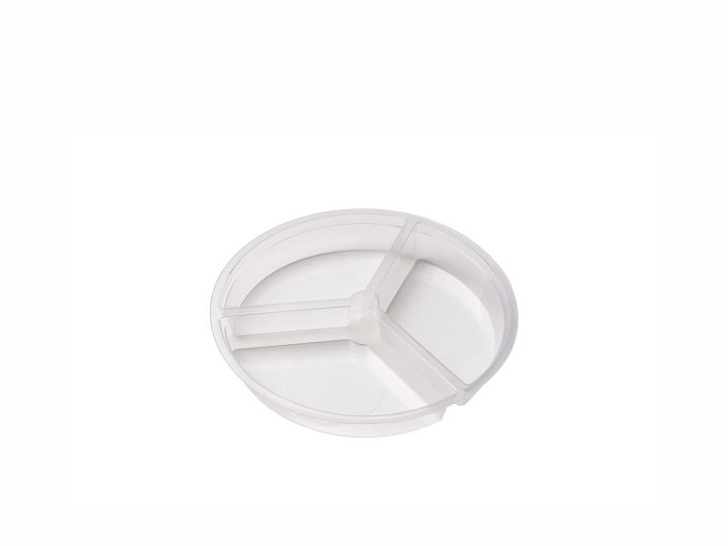 3 sections round plastic tray – 150-240g