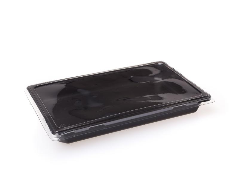 Black plastic tray rectangular 1015ml