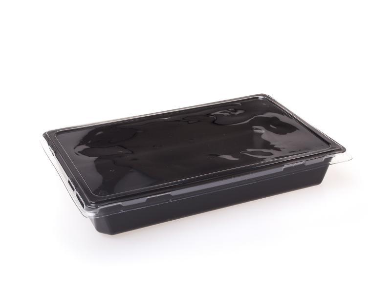 Black plastic tray rectangular 1300ml