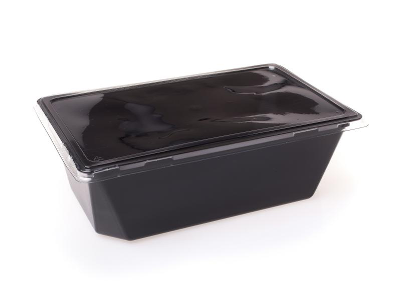 Black plastic tray rectangular 2650ml